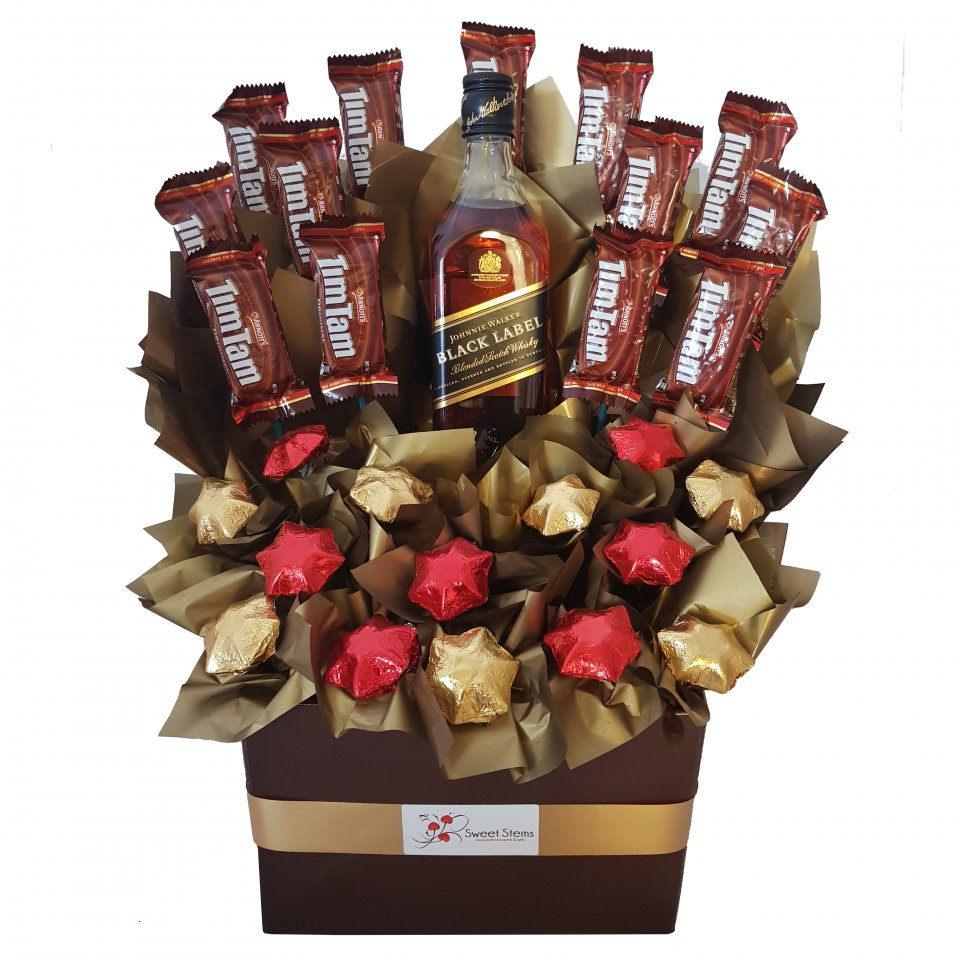 Johnnie Walker Scotch On D Chocs Chocolate Hamper Red