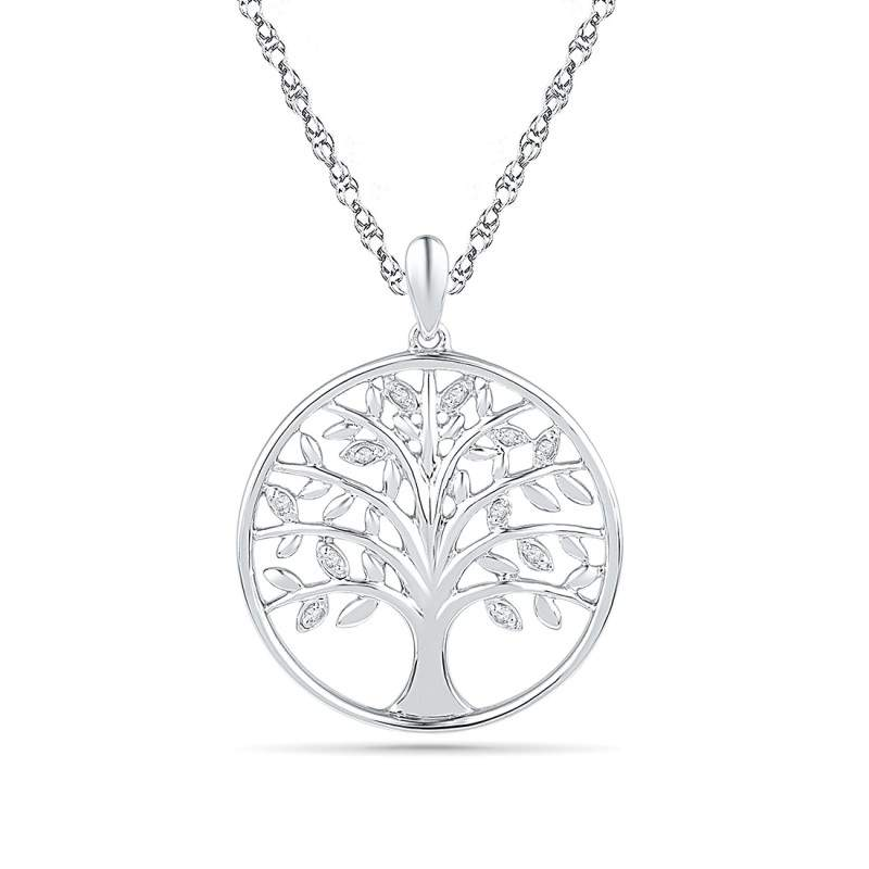 Sterling Silver Diamond Set Tree Of Life Necklace Red